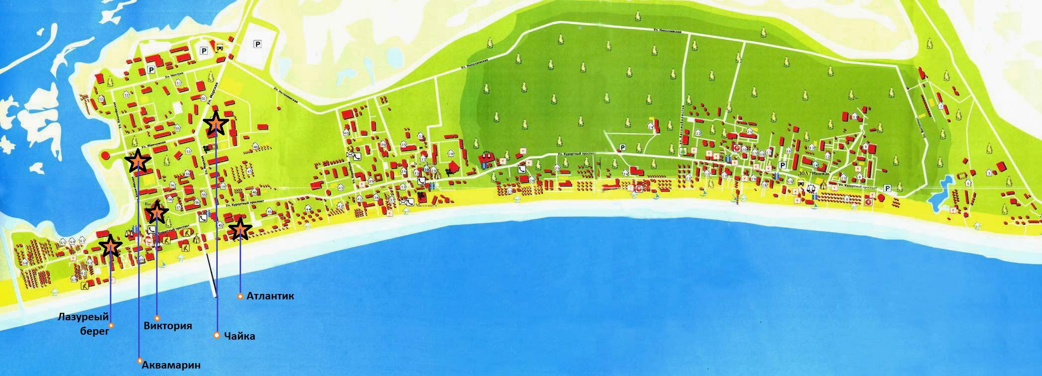 карта коблево с базами отдыха